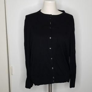 J Crew Black Cardigan Sweater size XL
